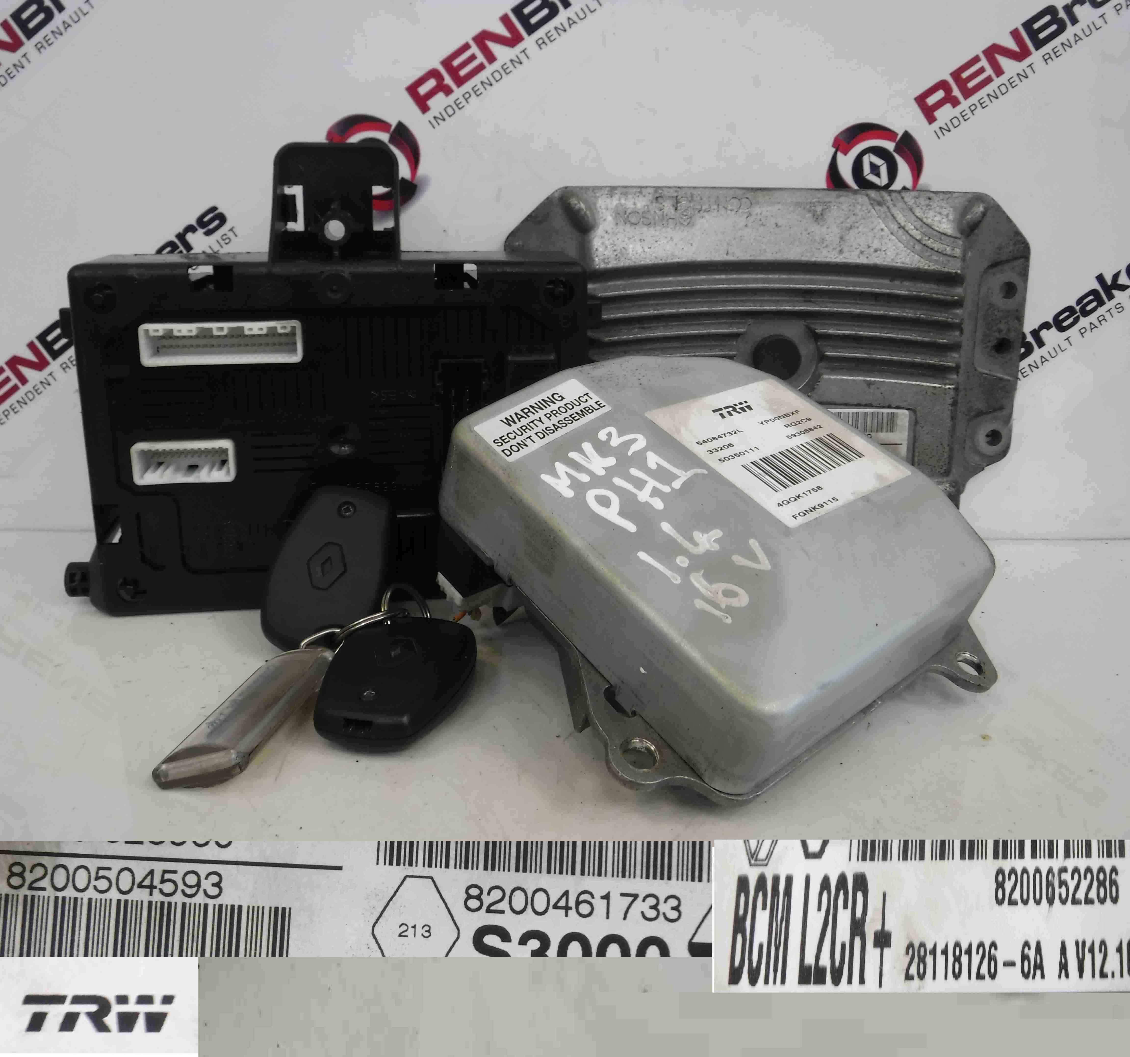 renault clio mk3 2005 2012 1 4 16v ecu set uch bcm steering 3 key fobs store renault. Black Bedroom Furniture Sets. Home Design Ideas