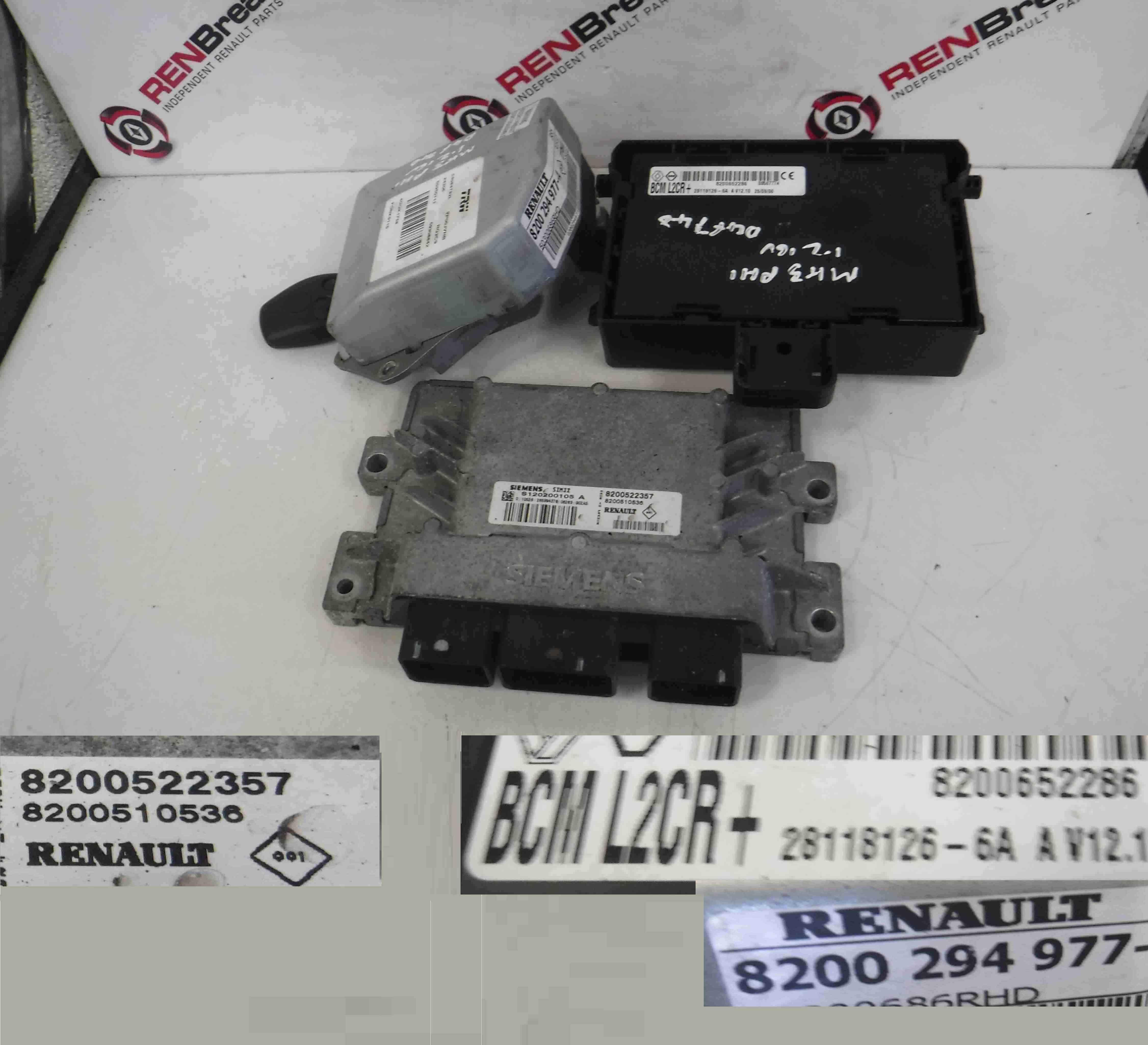 Renault Clio Mk3 2005 2012 12 16v Ecu Set Uch Steering Key Fuse Box Fob 8200522357