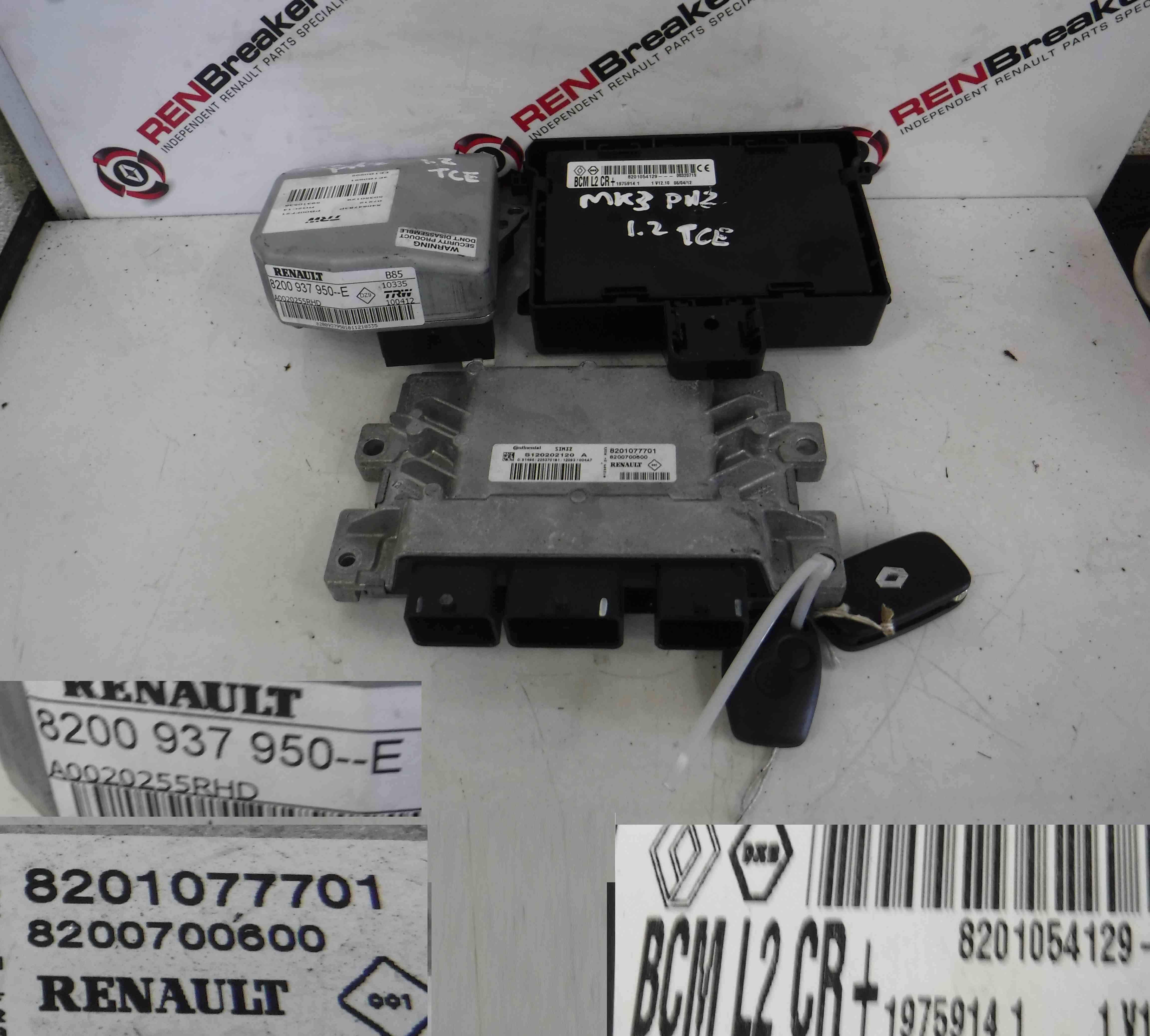 Renault Clio Mk3 2005 2012 12 Turbo Tce Ecu Set Uch Bcm Steering Fuse Box 2 Keys