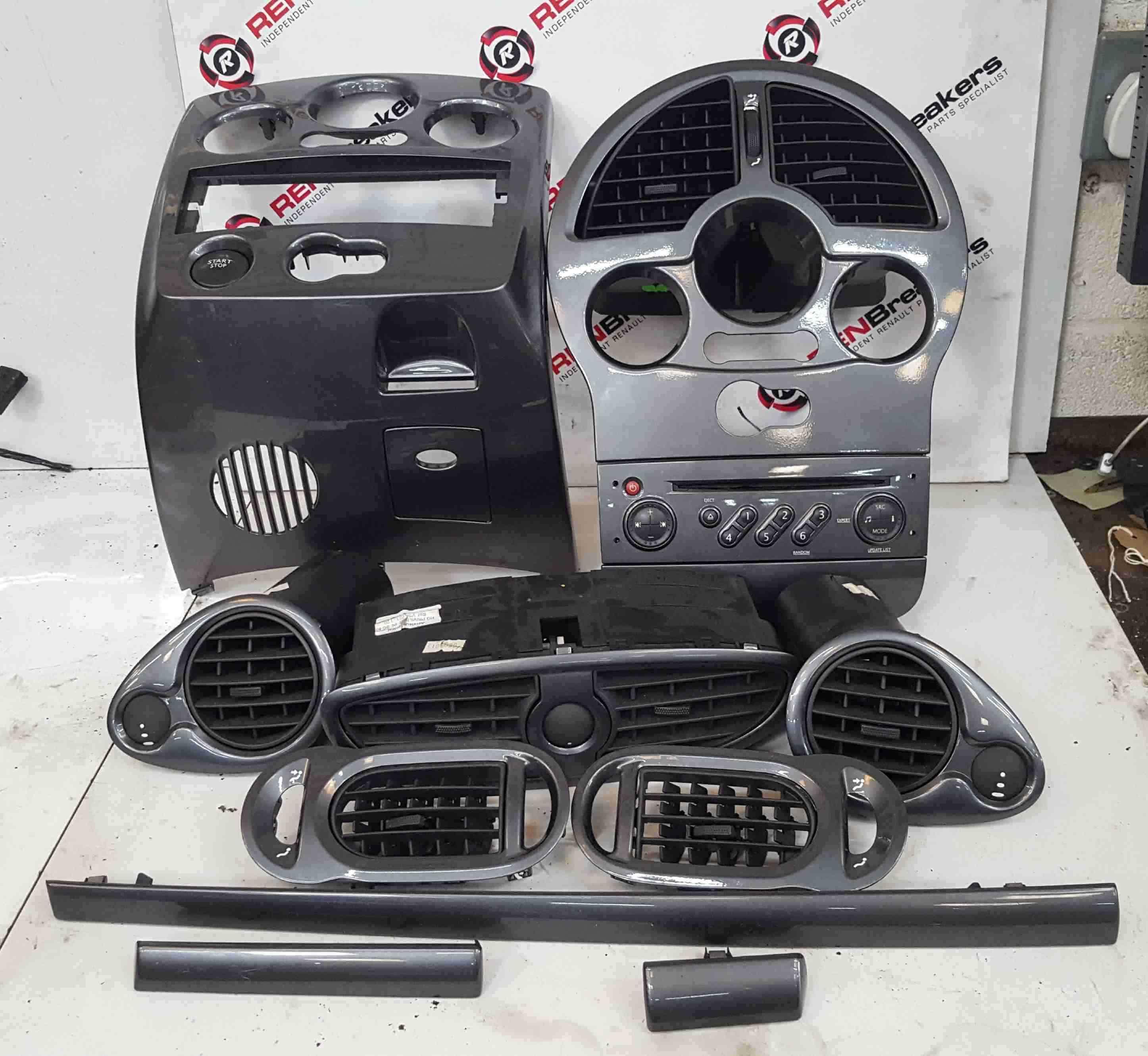 Renault Clio MK3 2005-2012 Dashboard Trims Interior Gloss Grey Set Cd Player