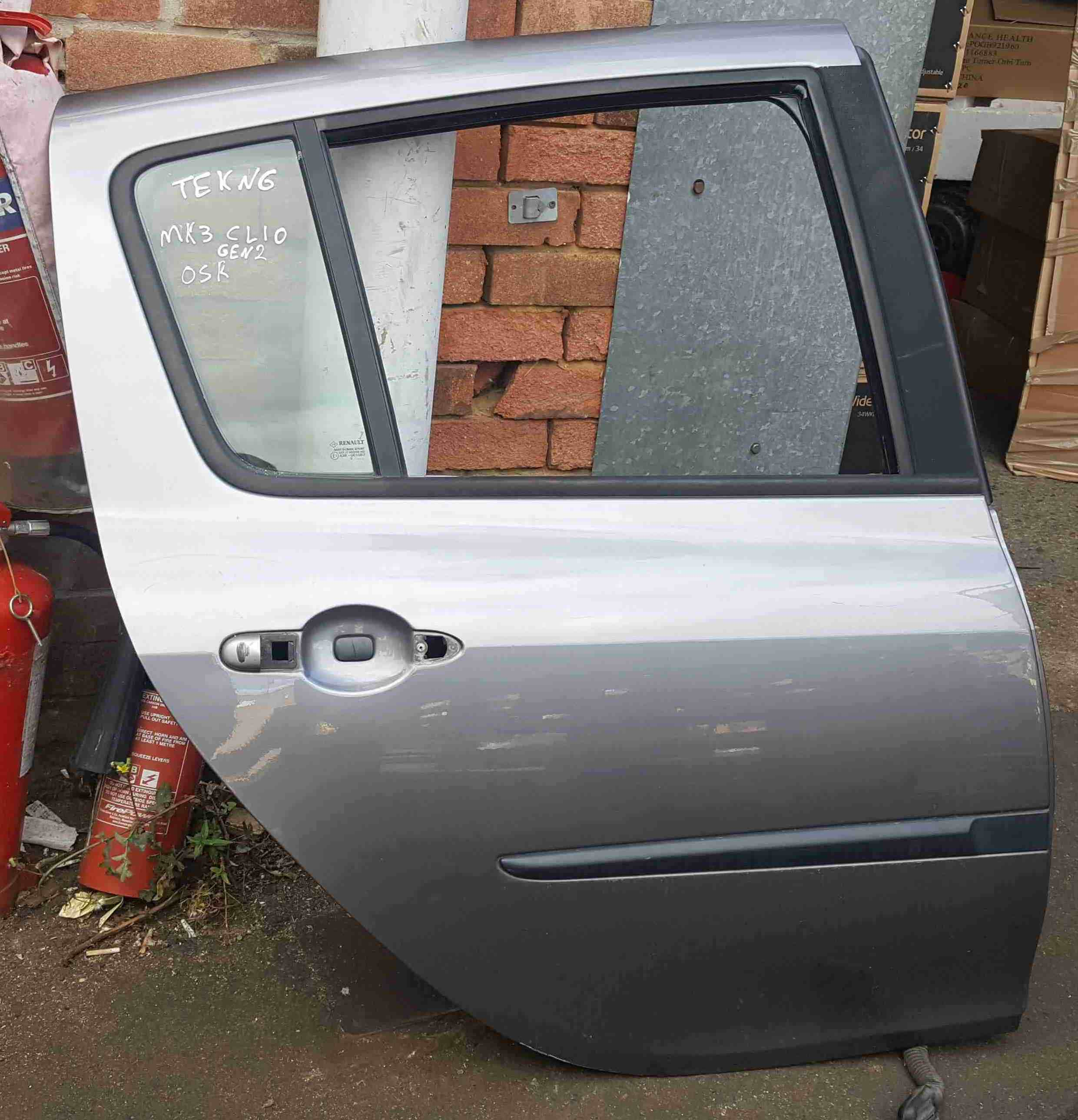 Renault Clio MK3 2005-2012 Drivers OSR Rear Door TEKNG Grey