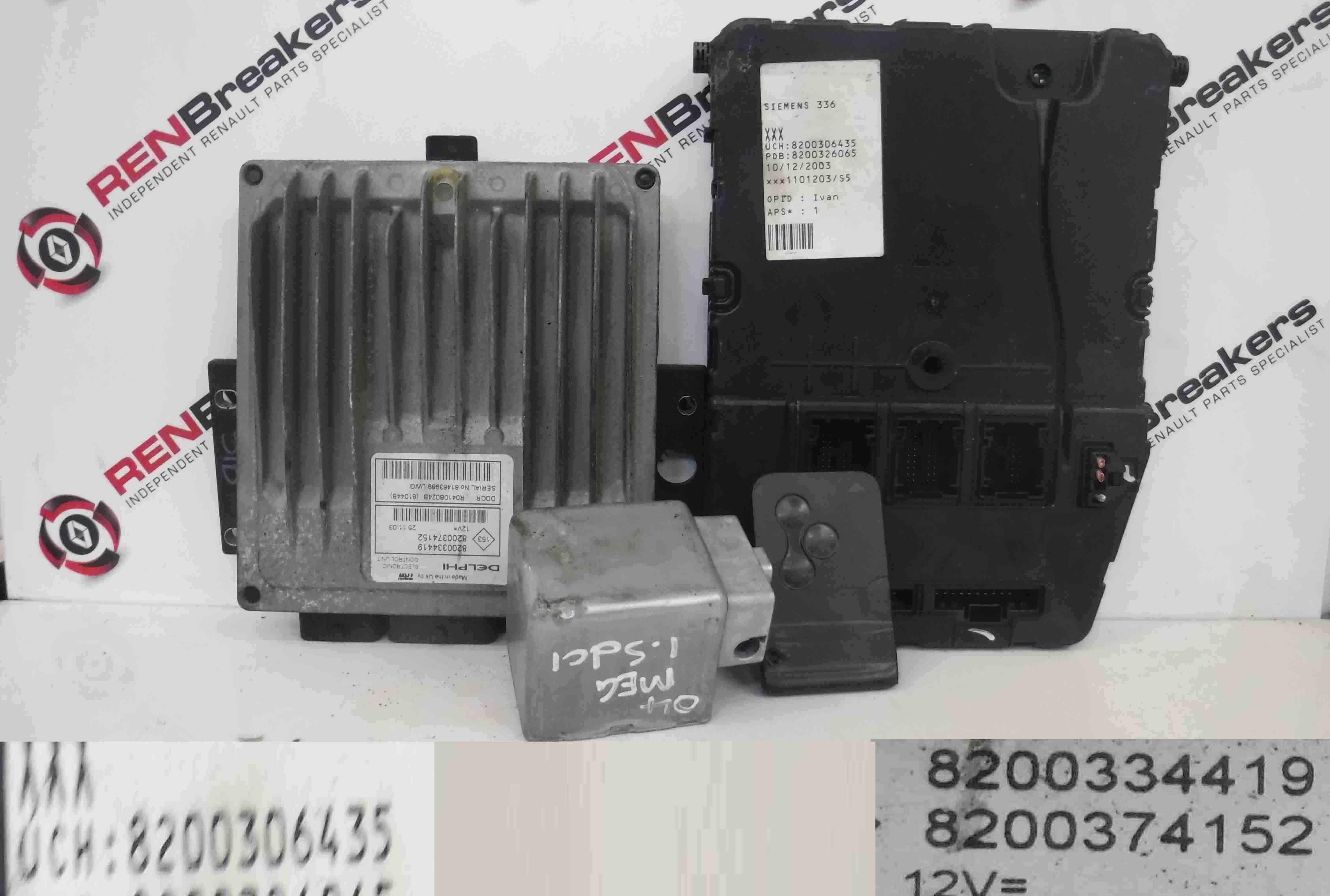 Key Card Renault Megane 2002-2008 1.9 dCi ECU SET UCH BCM Immobiliser