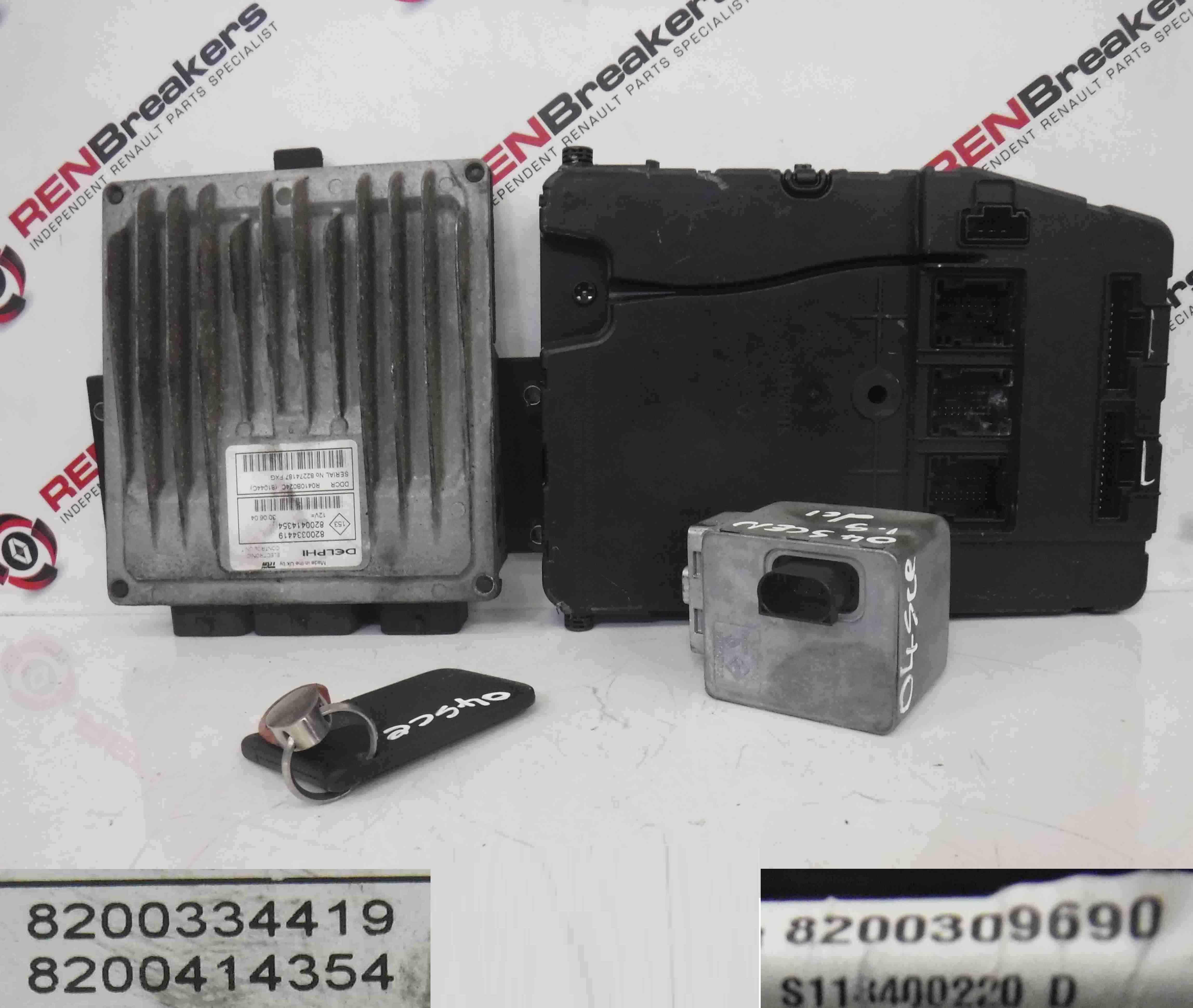 Renault Scenic 2003-2009  1.5 DCi ECU SET UCH Steering Lock  Key Card 8200334419