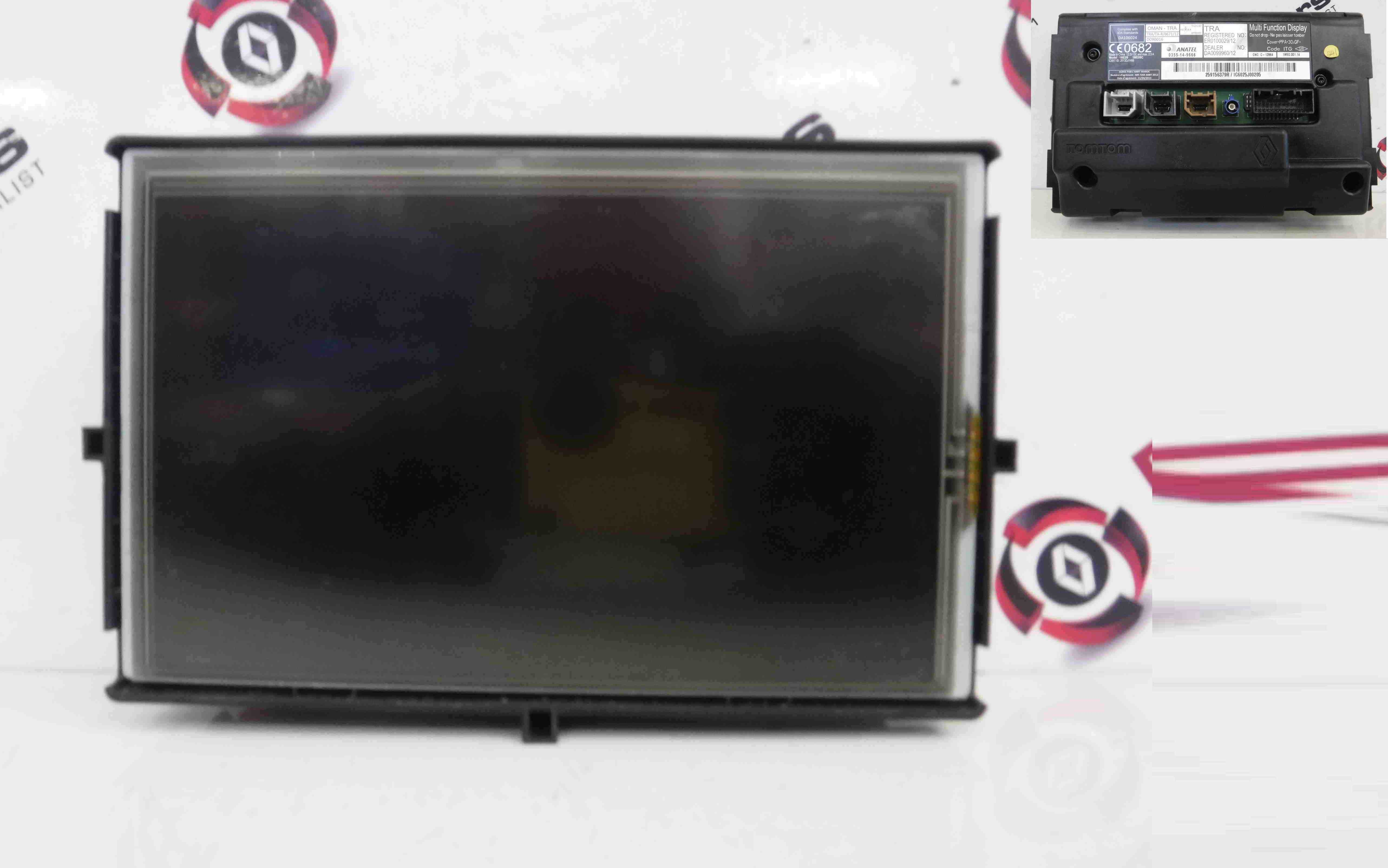Renault Captur Clio Zoe 2013-2015 TOM TOM Sat Nav Screen Display 259156379r