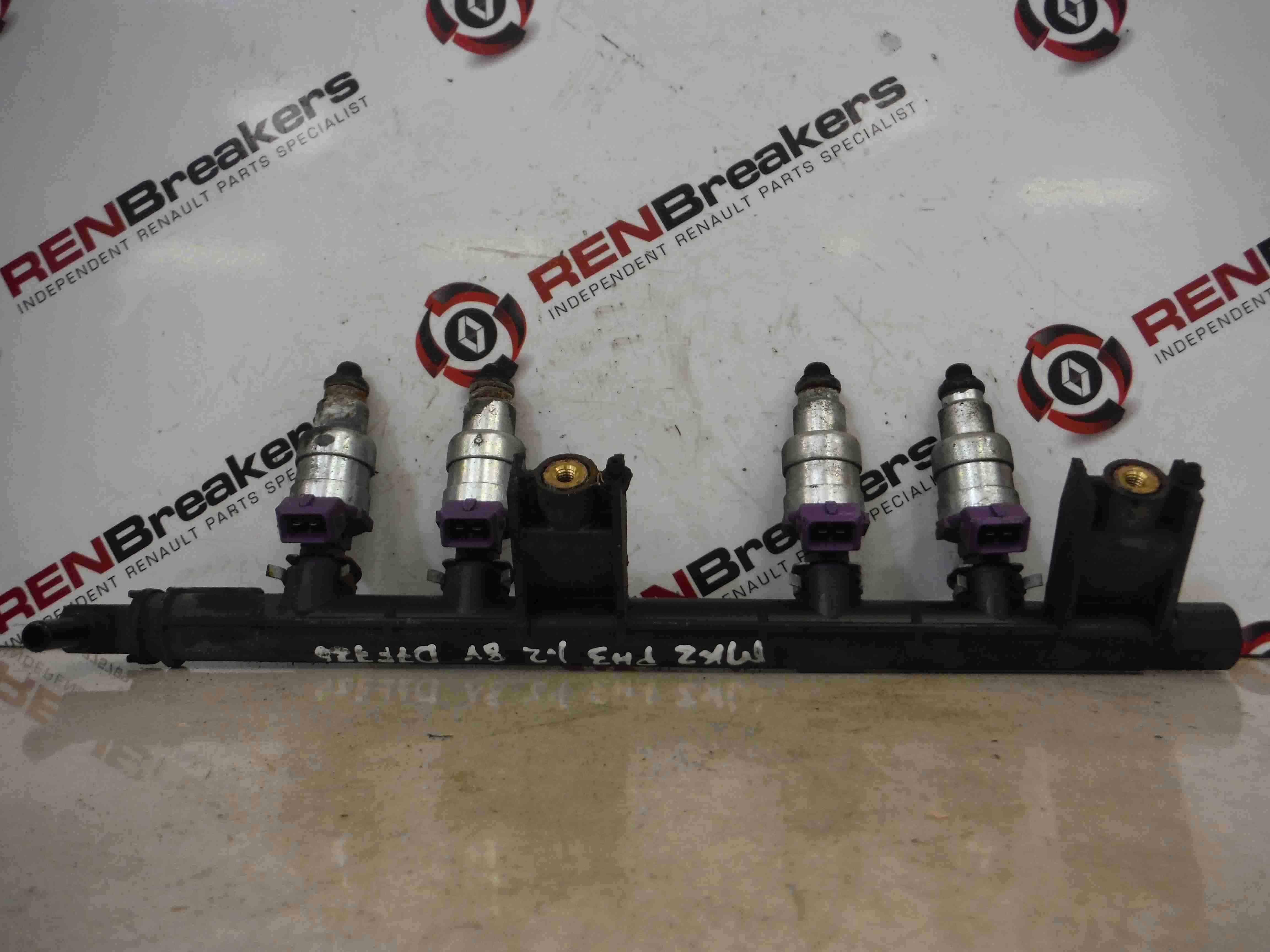 Renault Clio MK2 2001-2006 1.2 8v Petrol Fuel Injectors + Rail