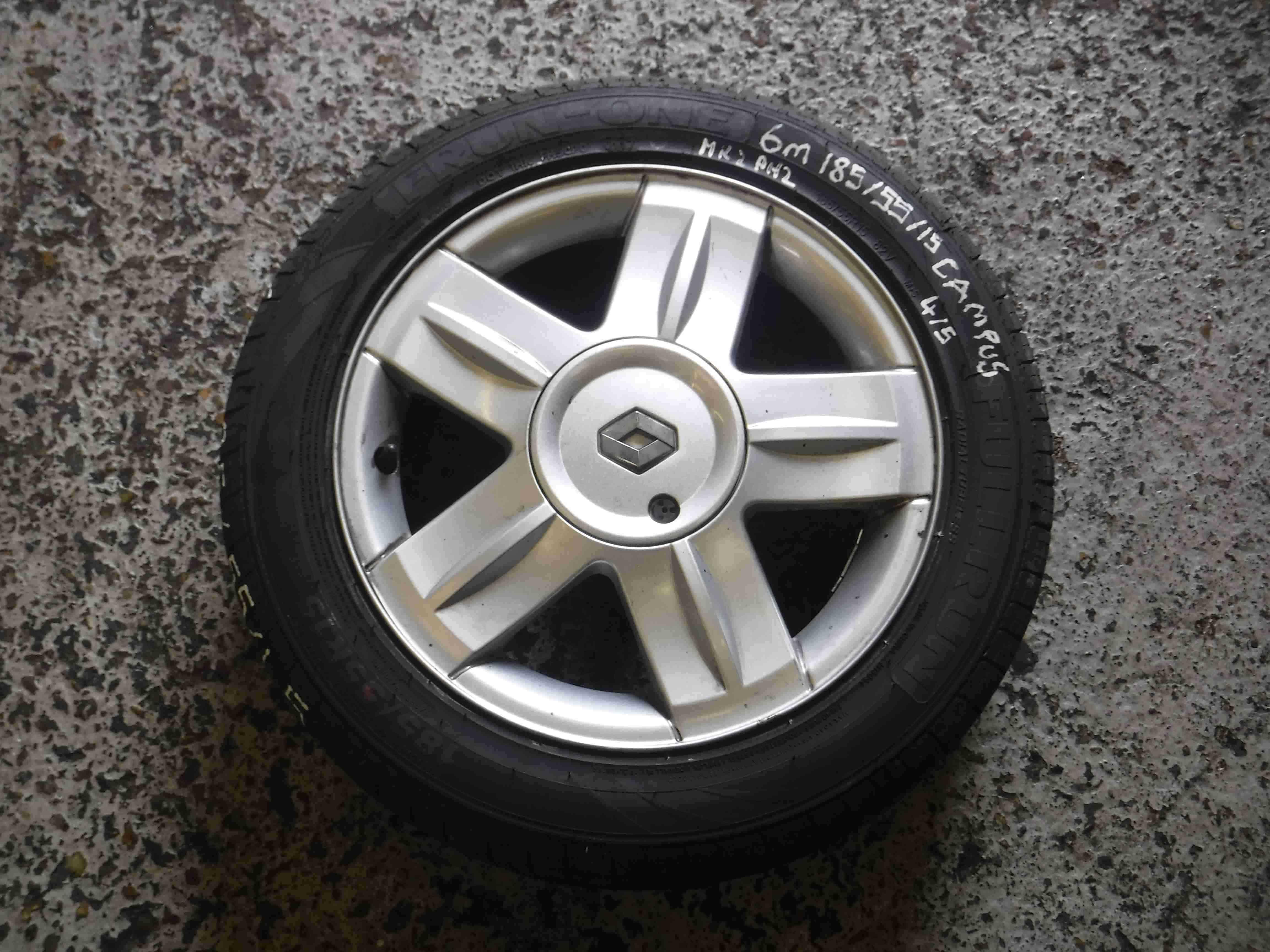 Renault Clio MK2 2001-2006 Campus Alium Alloy Wheel + Tyre 185 55 15 6mm 3/5