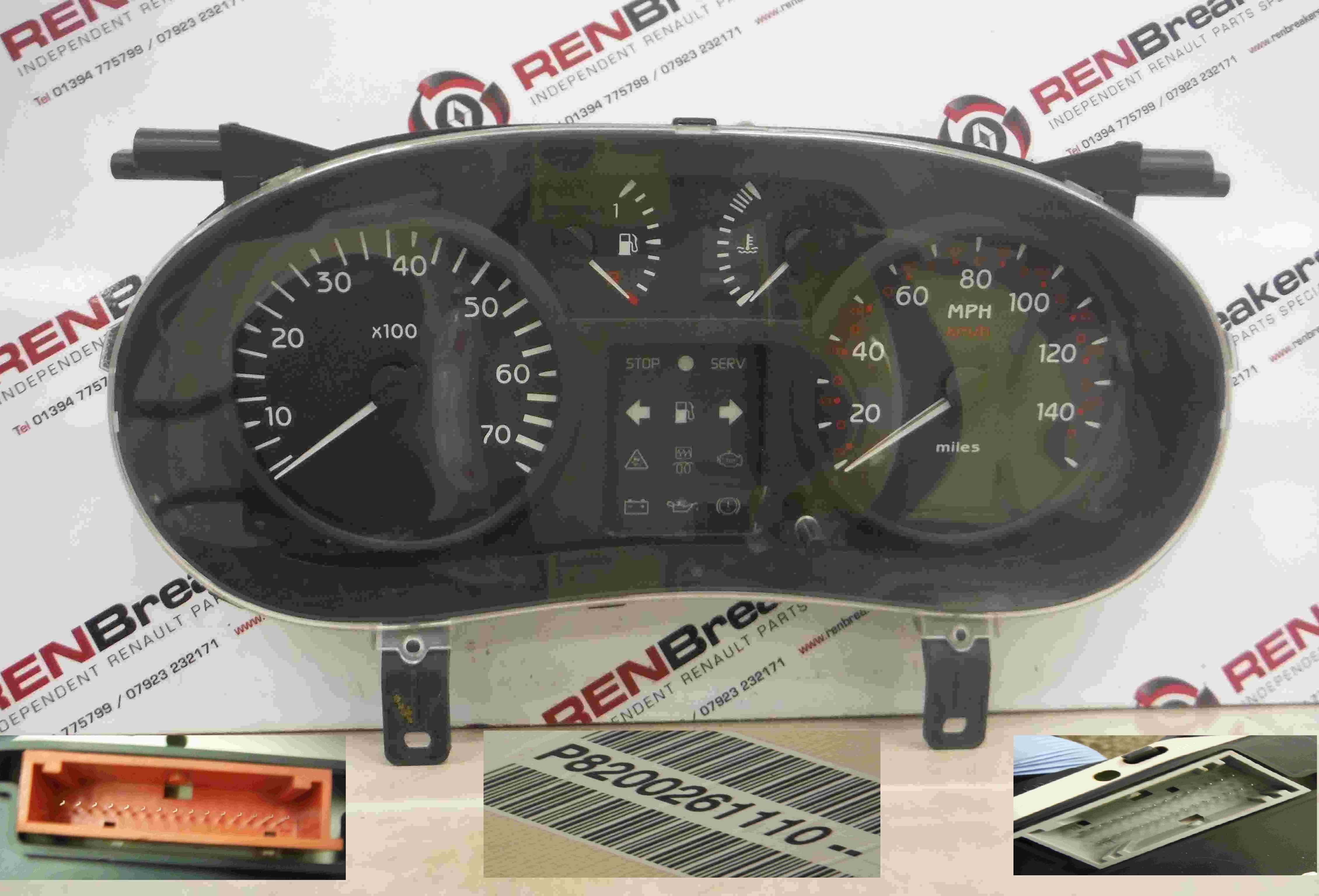 Renault Clio MK2 2001-2006 Instrument Panel Dials Clocks Speedo 120K 8200261110