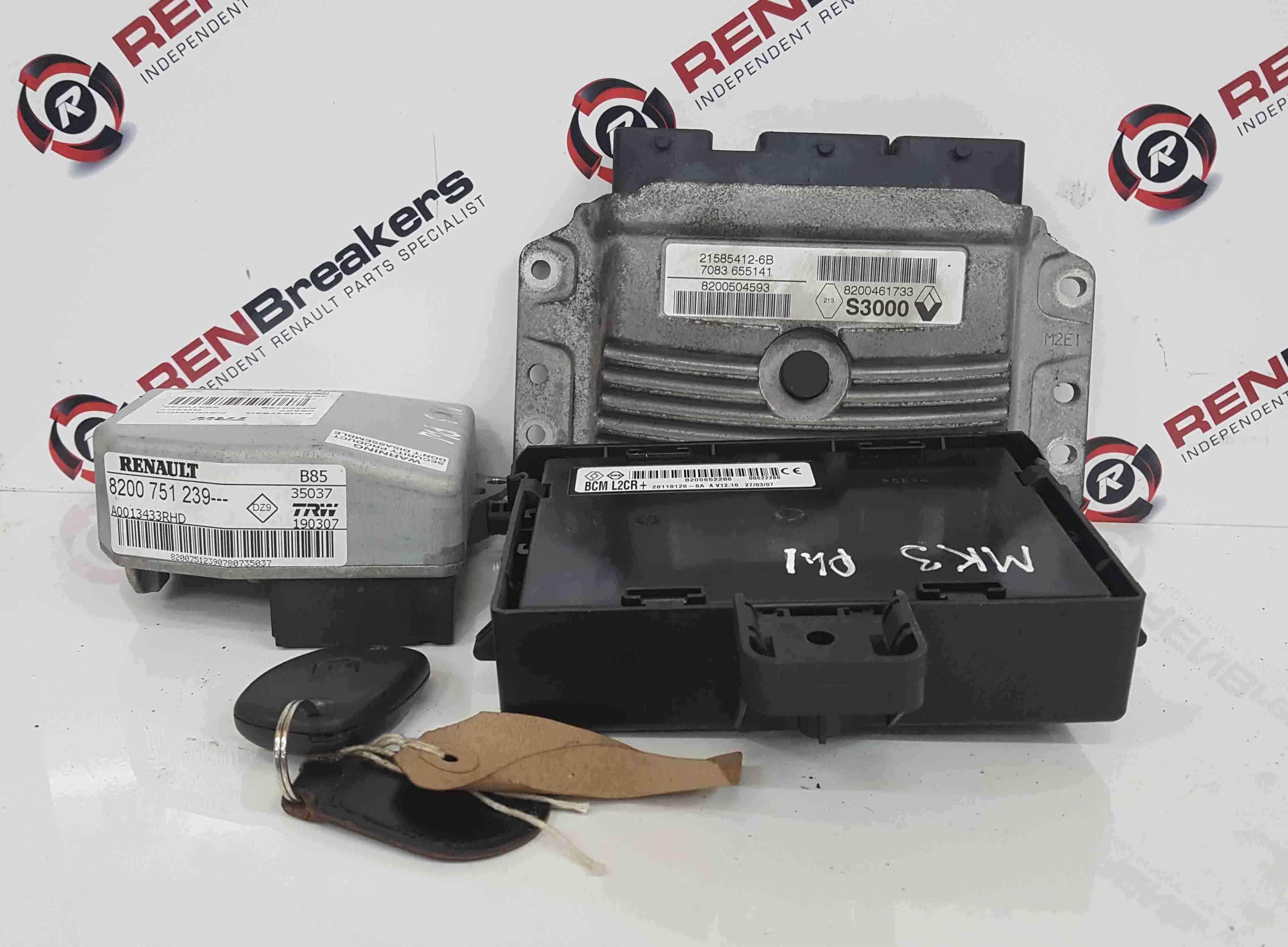 Renault Clio MK3 2005-2009 1.4 16v ECU Set UCH BCM Immobiliser Steering Key Fob