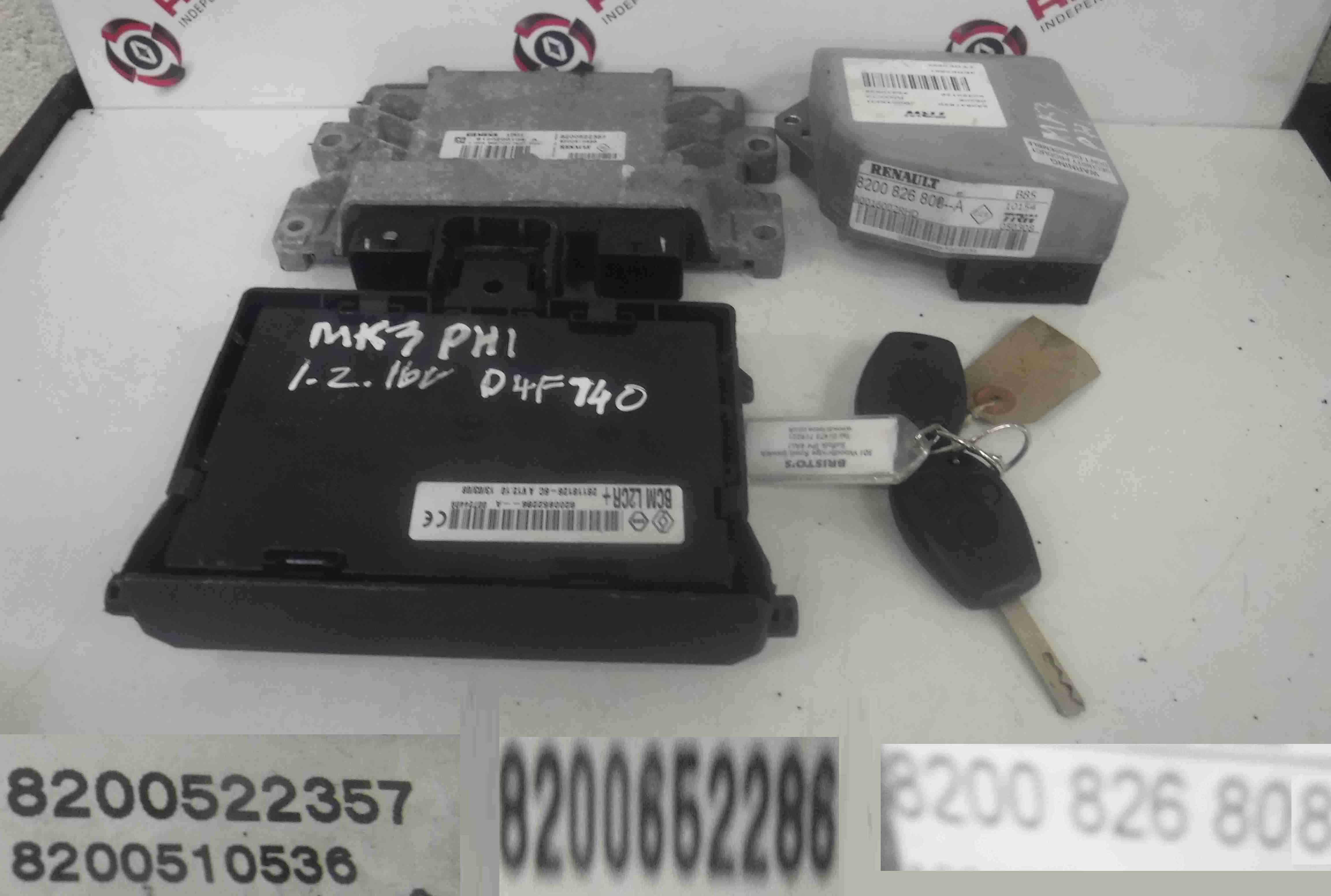 Renault Clio MK3 2005-2012 1.2 16v ECU SET UCH BCM Immobiliser + Key Fob