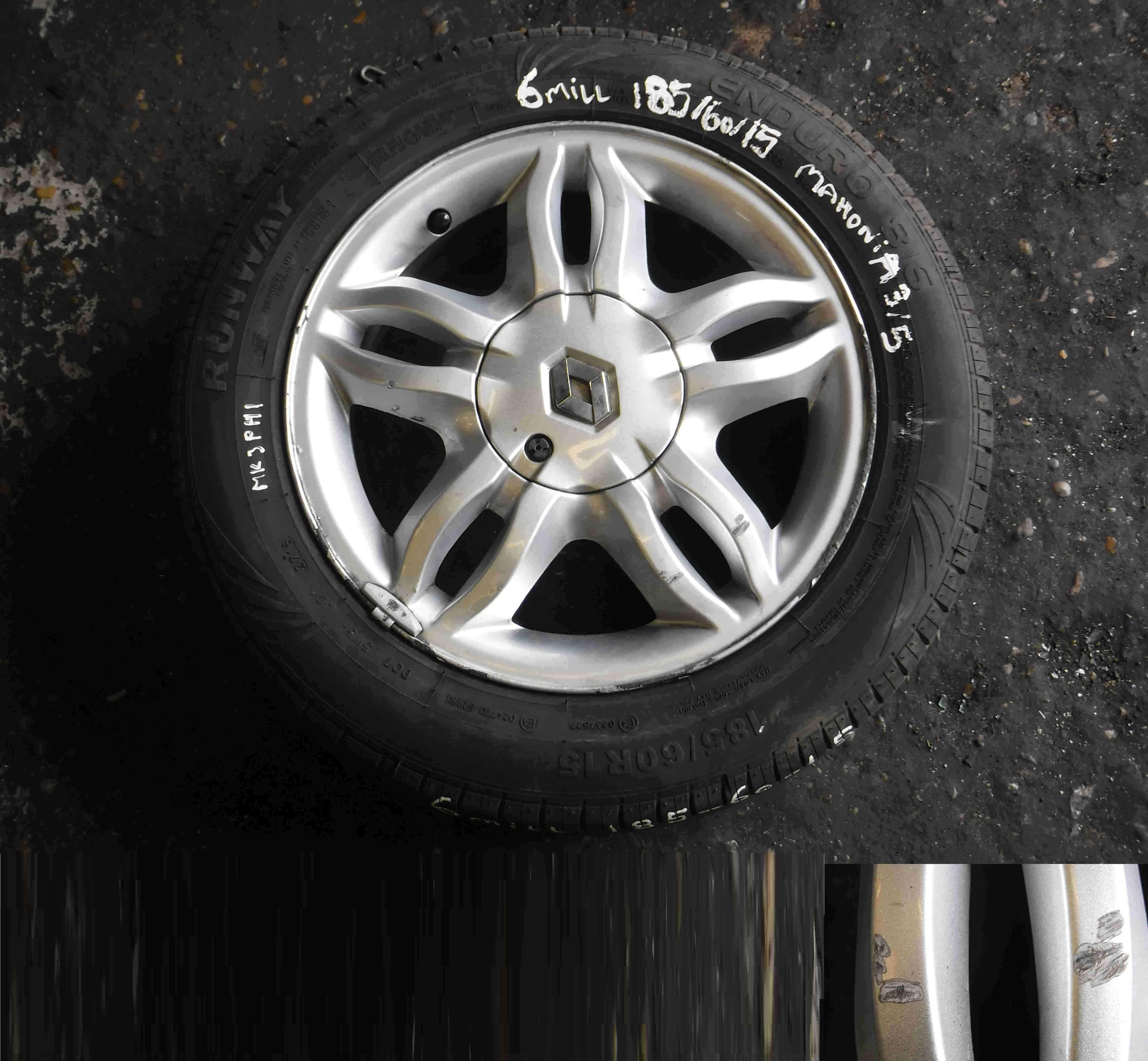 Renault Clio MK3 2005-2012 Mahonia Alloy Wheel  Tyre 185 60 15 6mm Tread 35