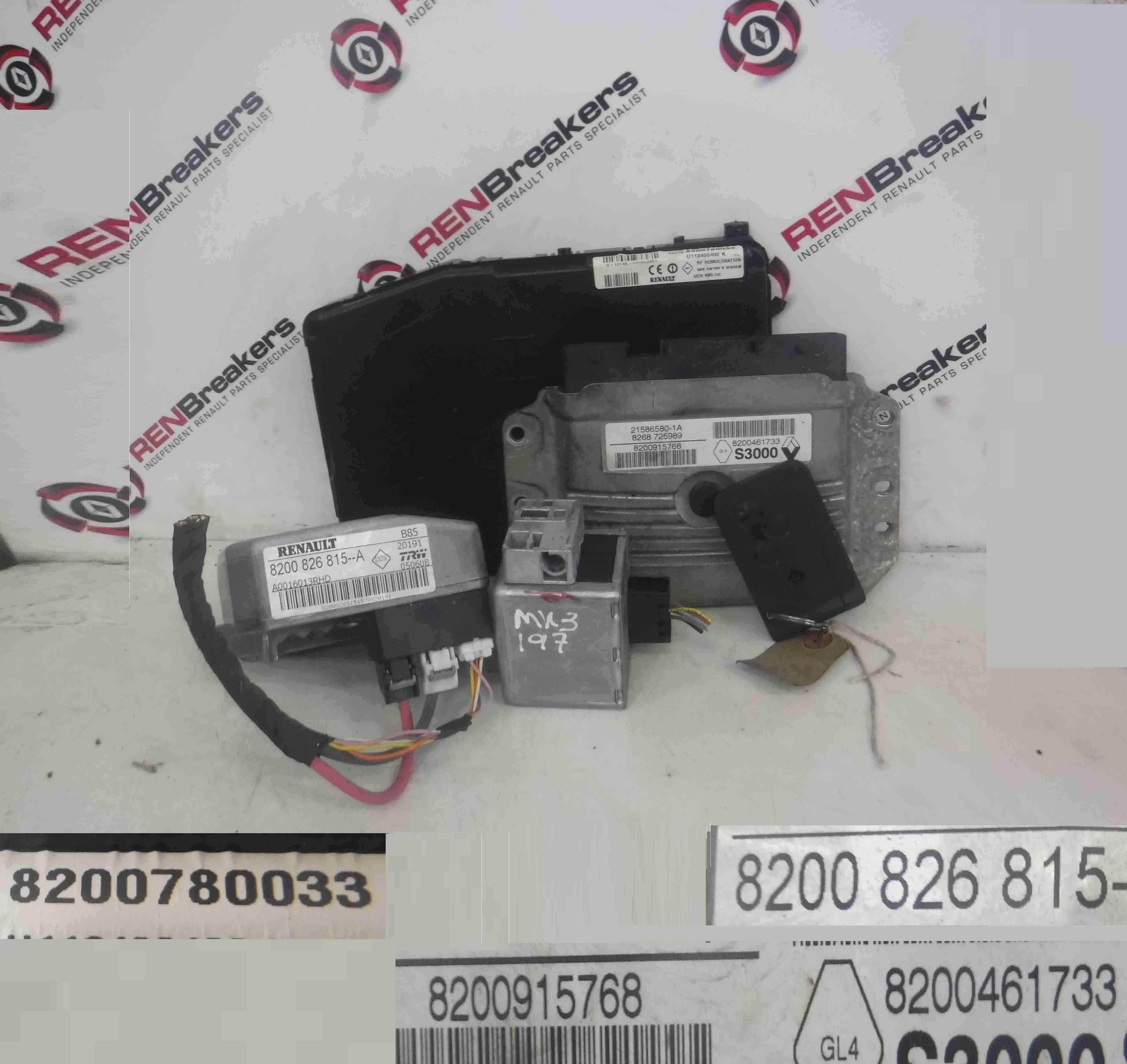 Renault Clio Sport 2005-2009 197 2.0 16v ECU SET UCH BCM Steering ECU + Key Card