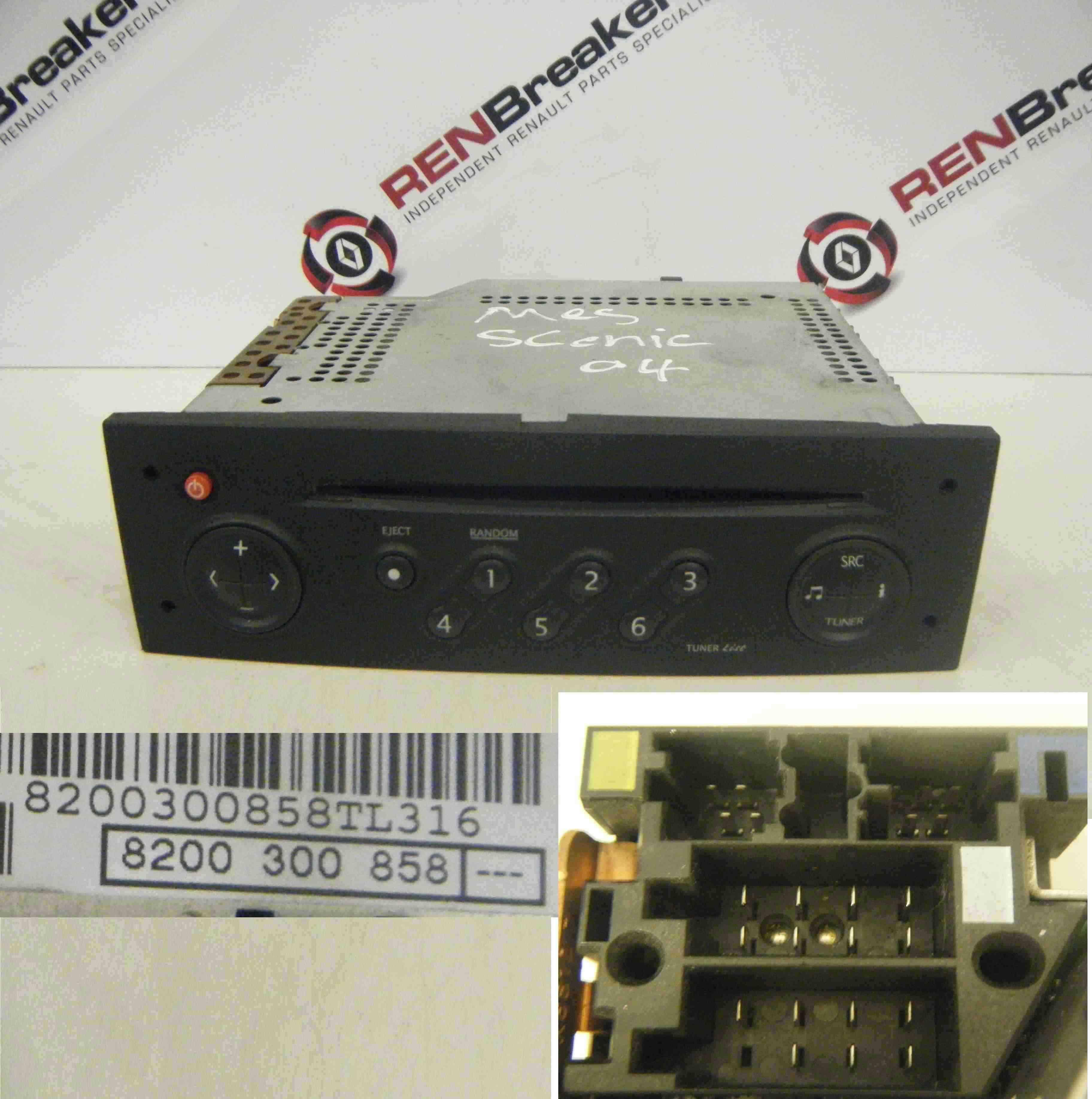 Renault Grand Scenic 2003-2009 CD Player Tuner List Black + Code 8200300858