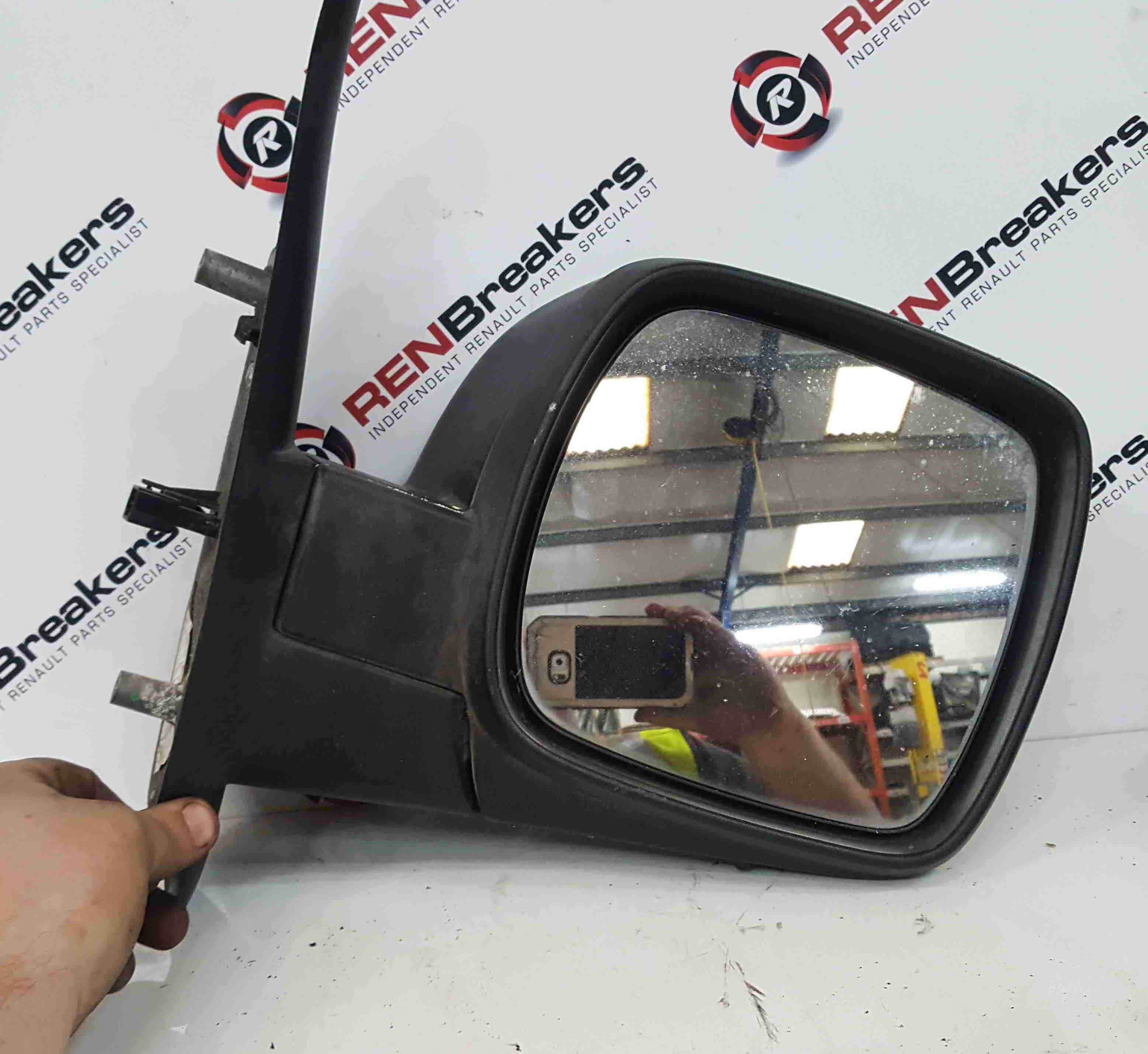 Renault Kangoo 2007-2017 Drivers OS Wing Mirror Plain Black Folding