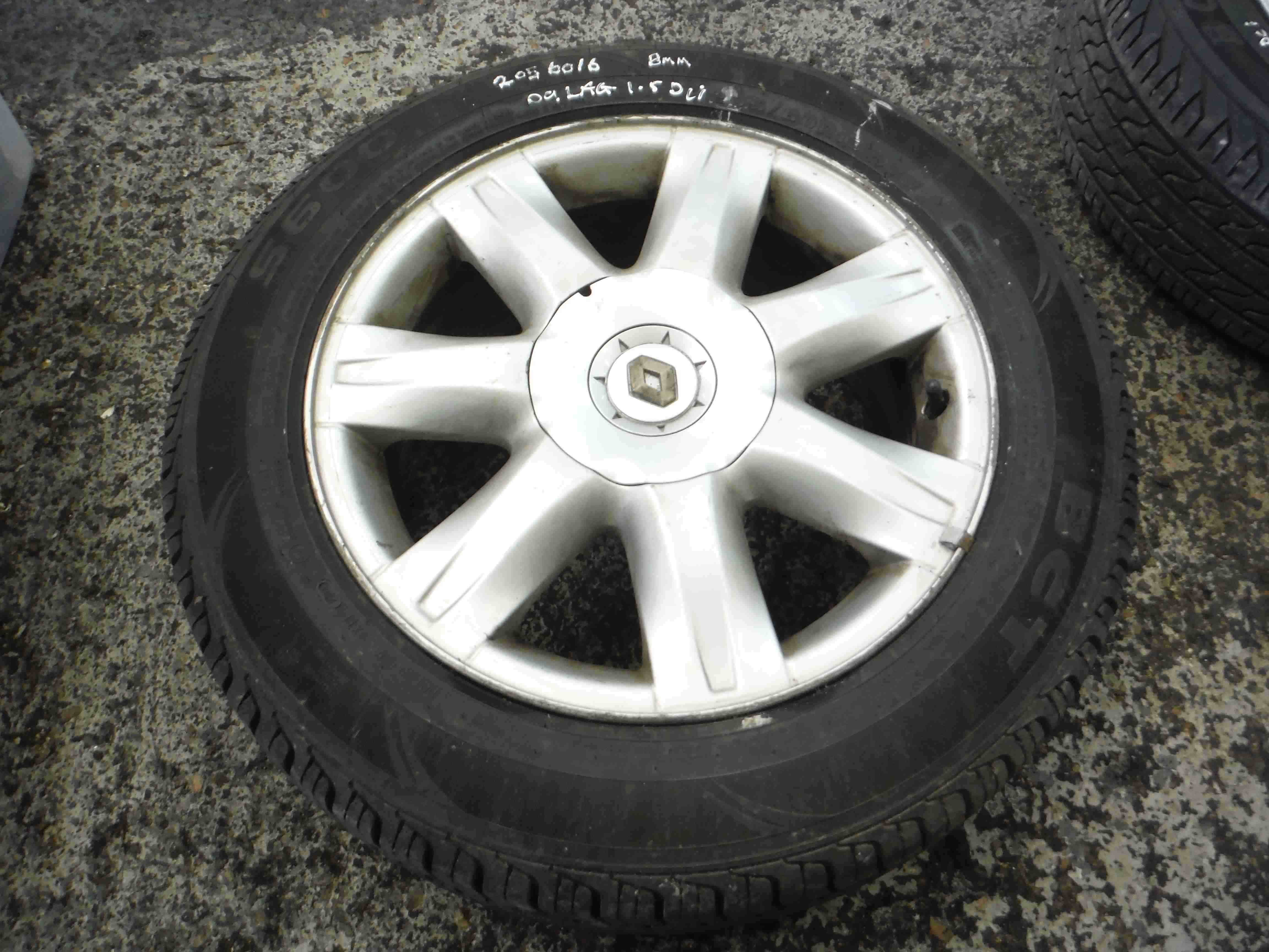 Renault Laguna MK3 2007-2010 Paradise Alloy Wheel + Tyre 3/5  205 60 16 6mm