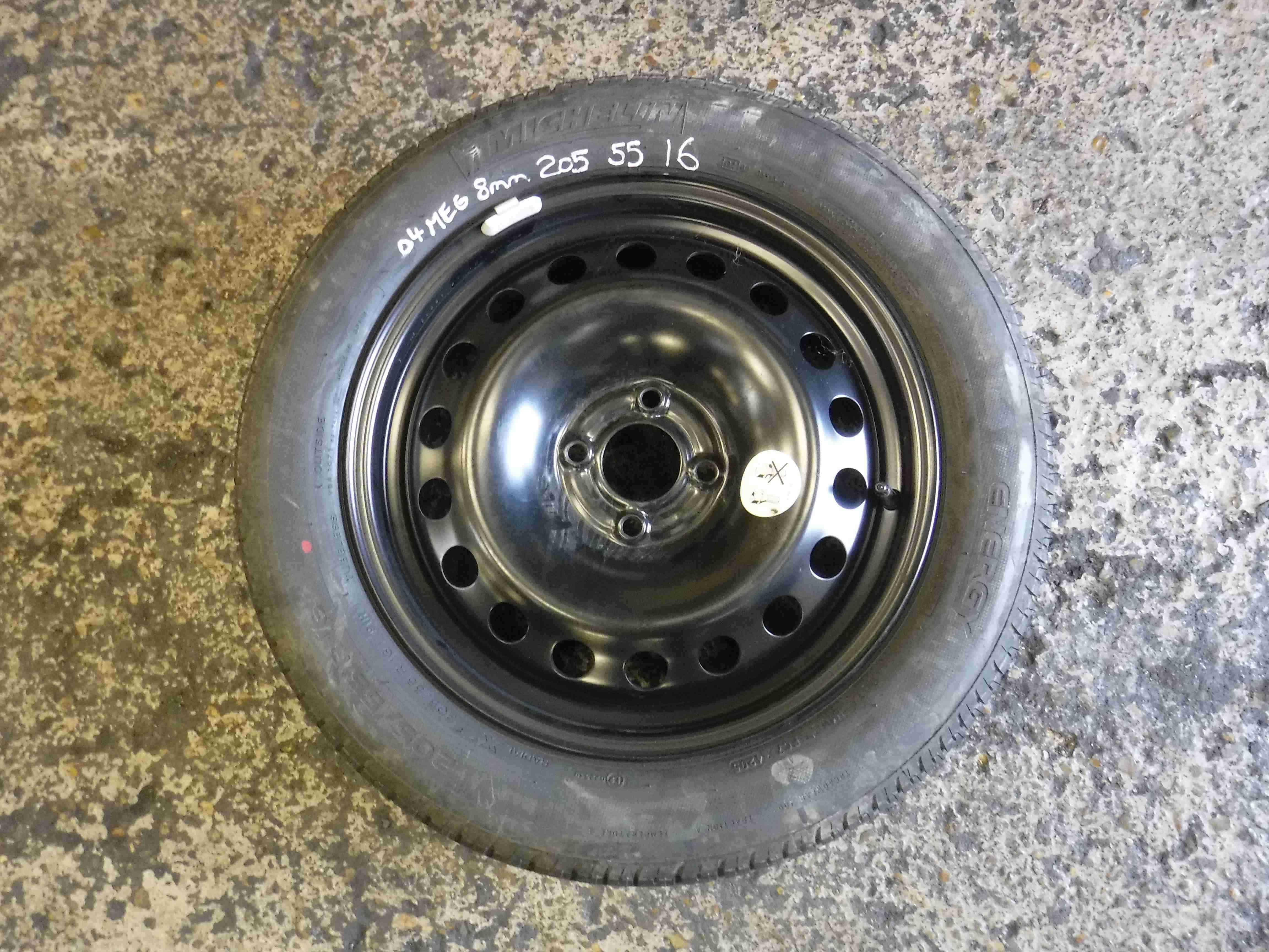 Renault Megane  Scenic 2003-2009 Spare Steel Wheel Rim  Tyre 205 55 16 8mm 55