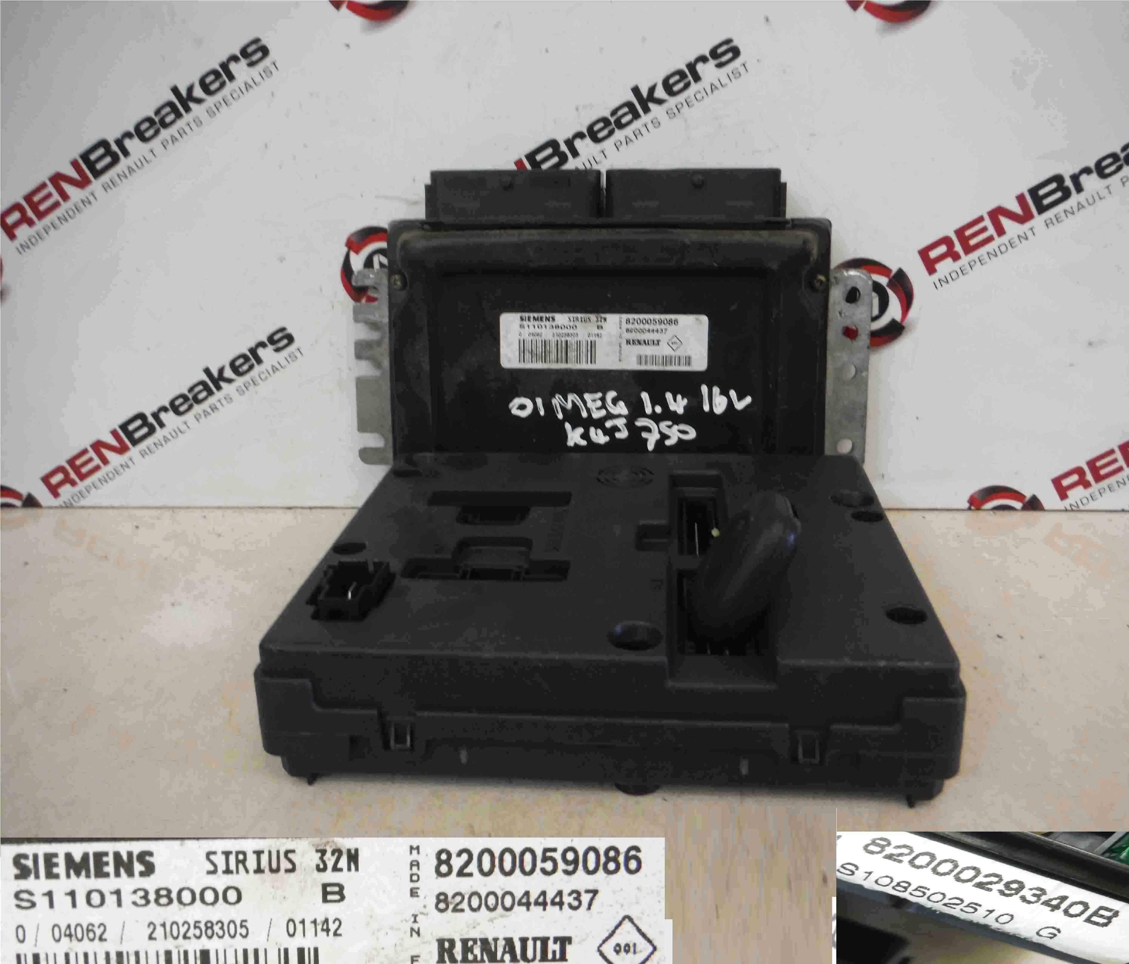 Renault Megane 1999-2002 1.4 16v ECU SET UCH BCM Immobiliser + Key Fob