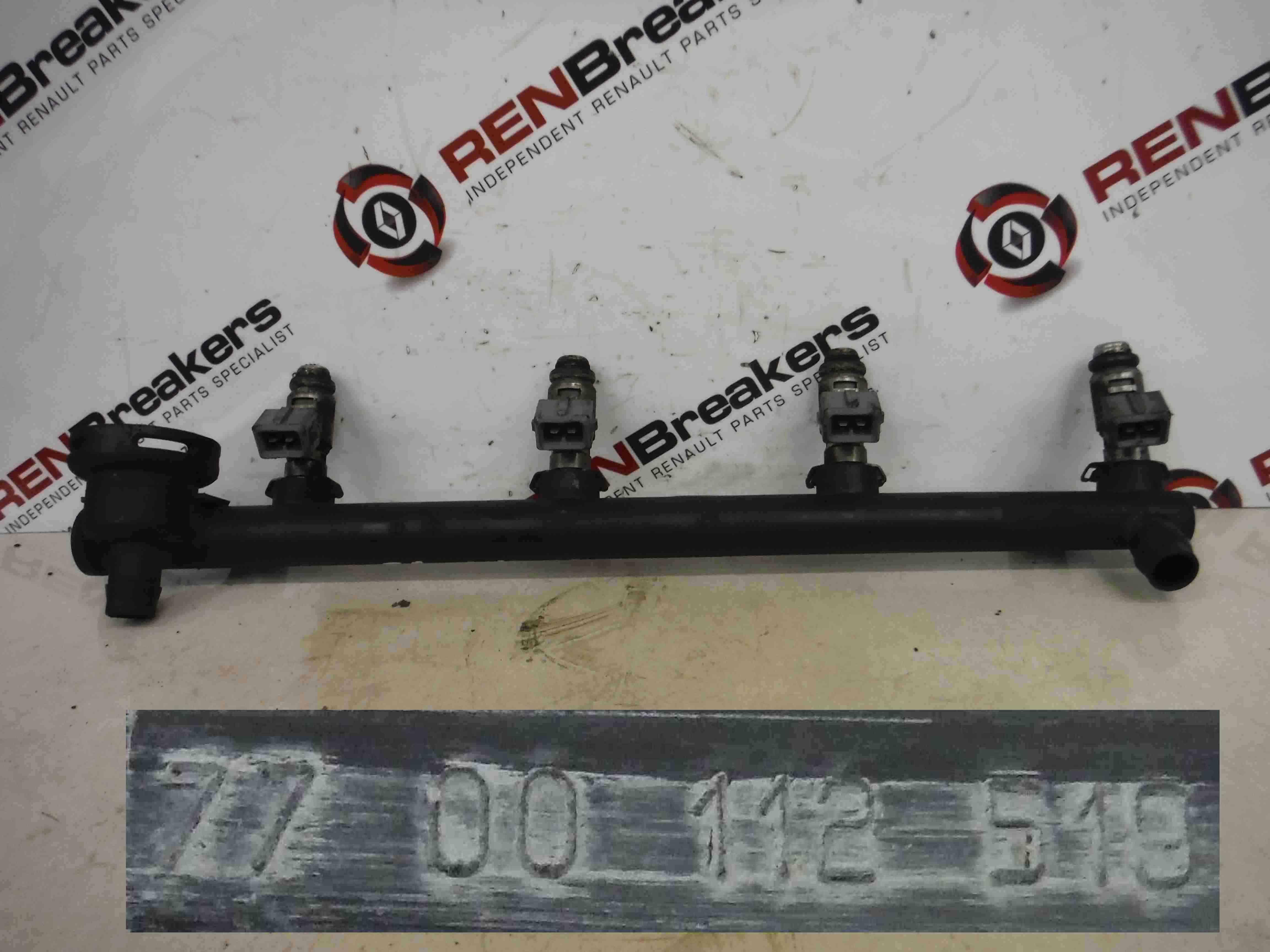 Renault Megane 1999-2002 1.4 16v Petrol Fuel Injectors + Rail Set x4 7700112519