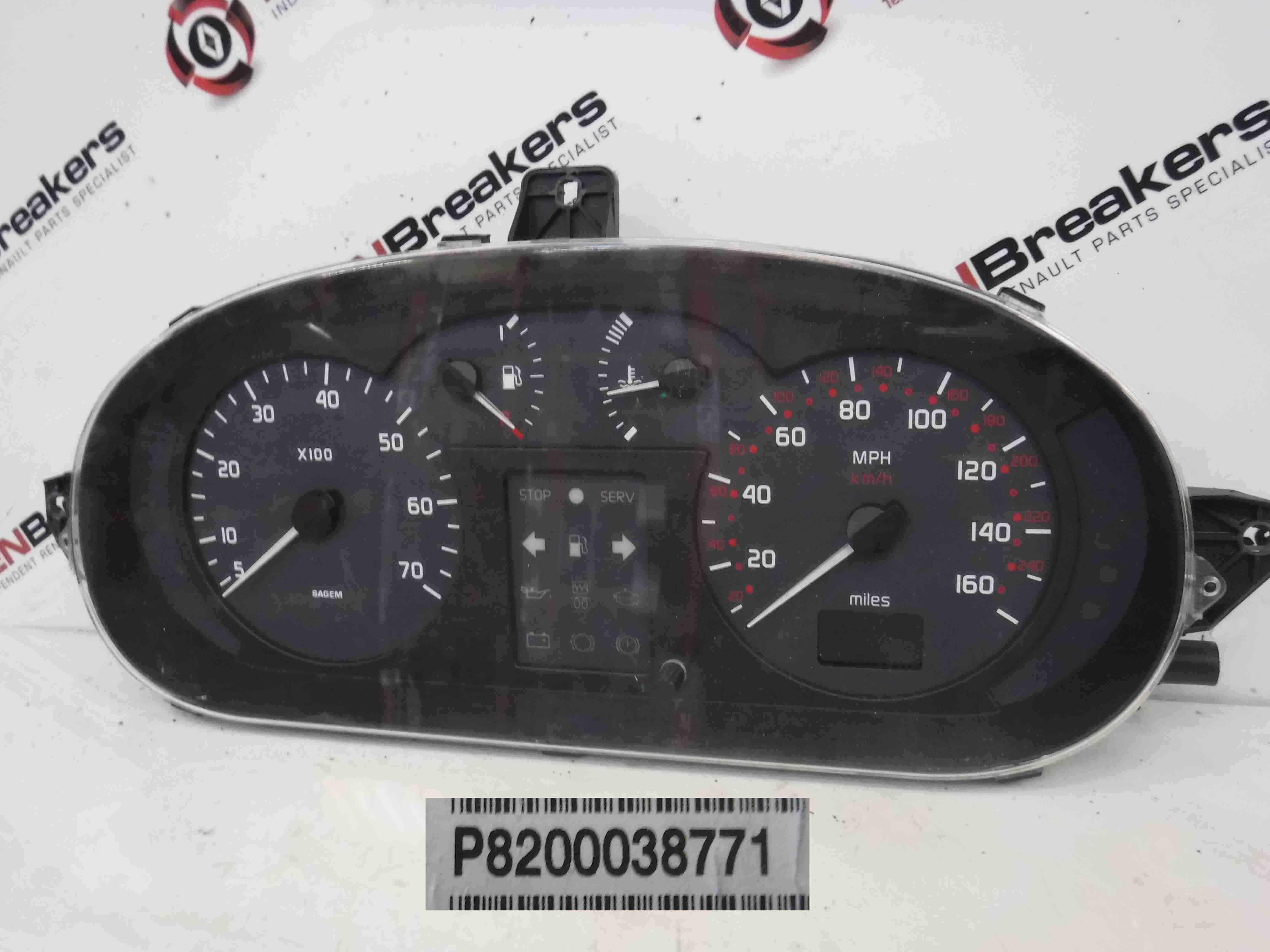 Renault Megane 1999-2002 Instrument Panel Dials Gauges Clocks 134K 8200038771