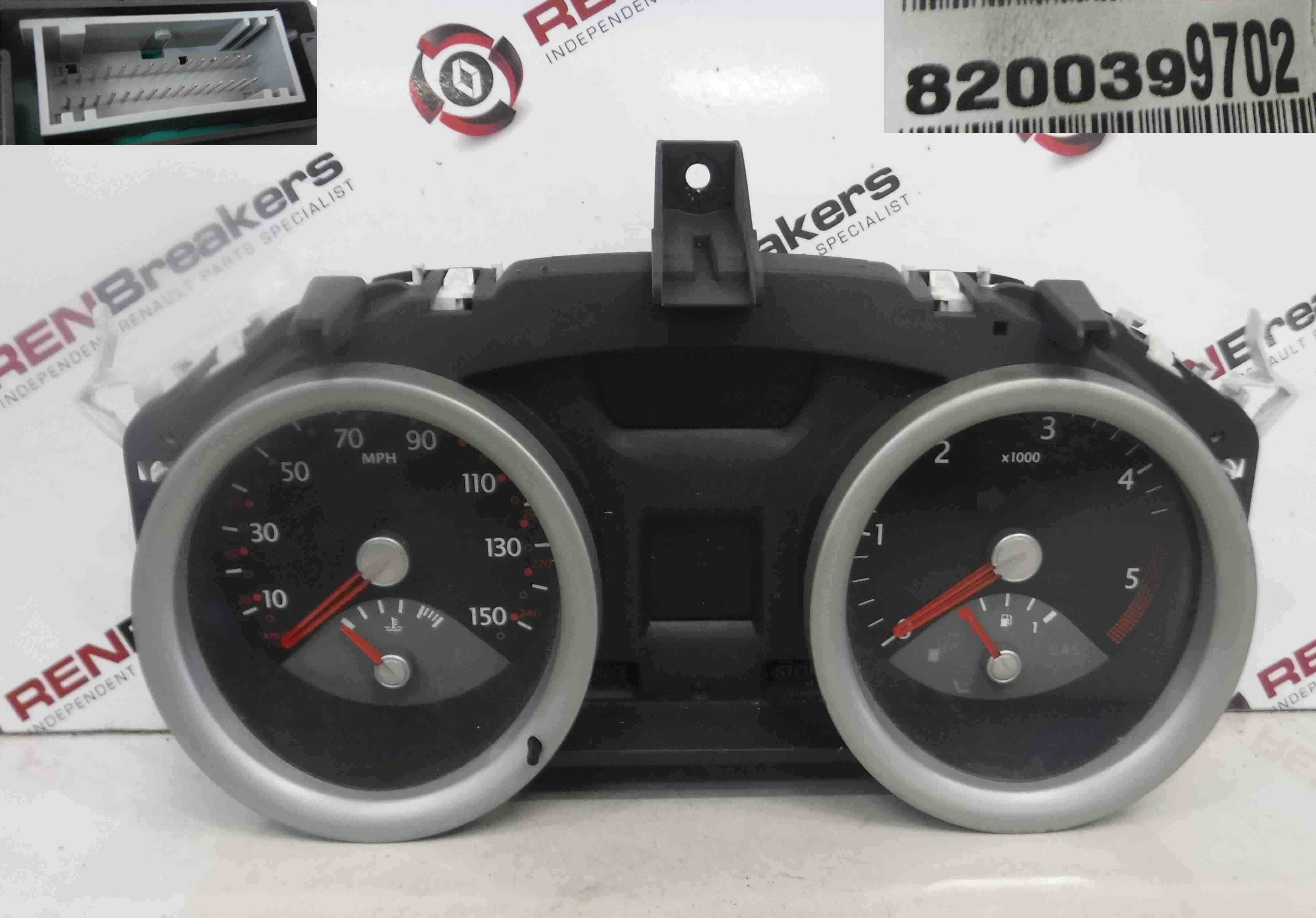 Renault Megane 2002-2008 Instrument Panel Clocks Speedo 129K 8200399702