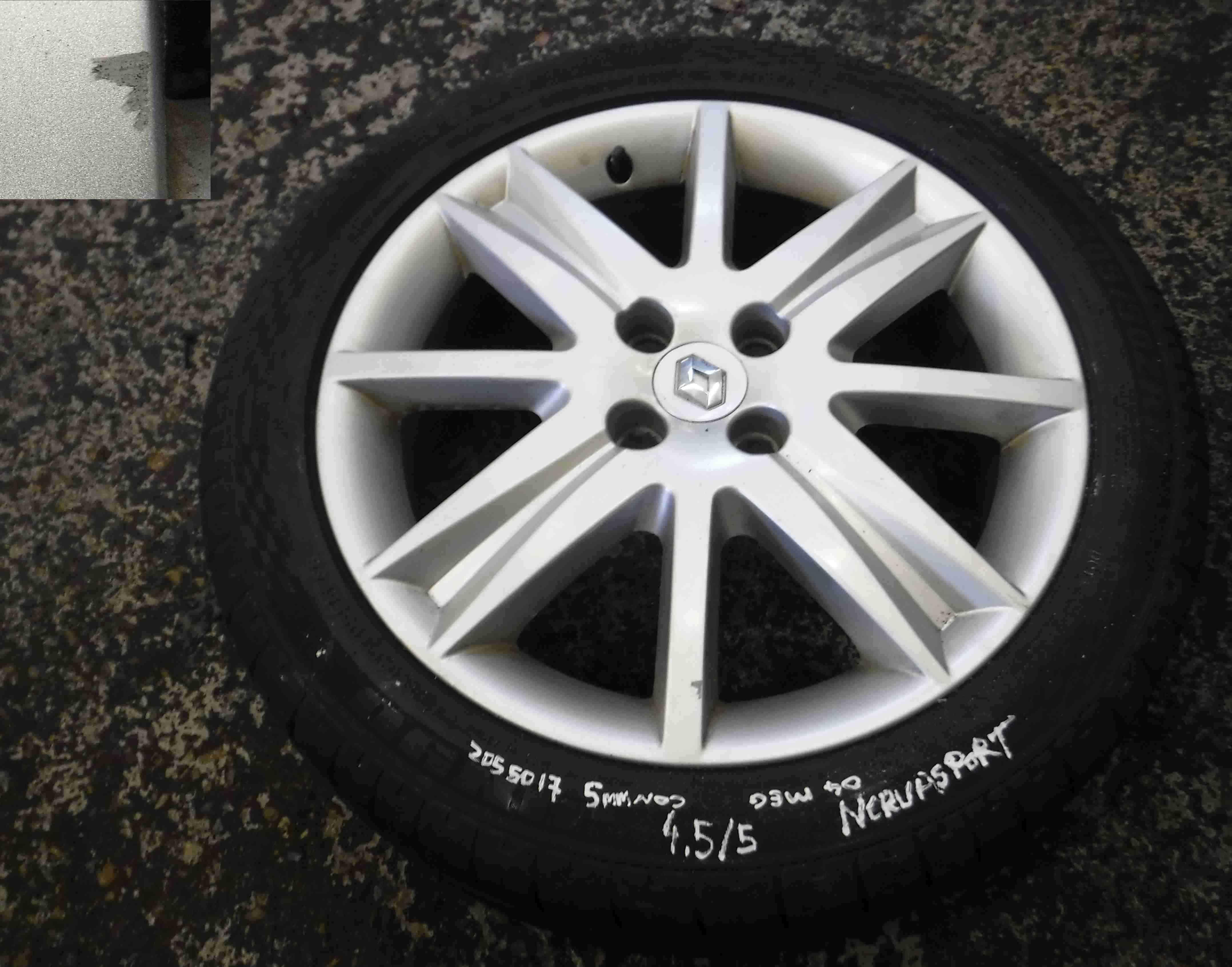 Renault Megane 2002-2008 Nervasport Alloy Wheel  Tyre 205 50 17 5mm Tread 35
