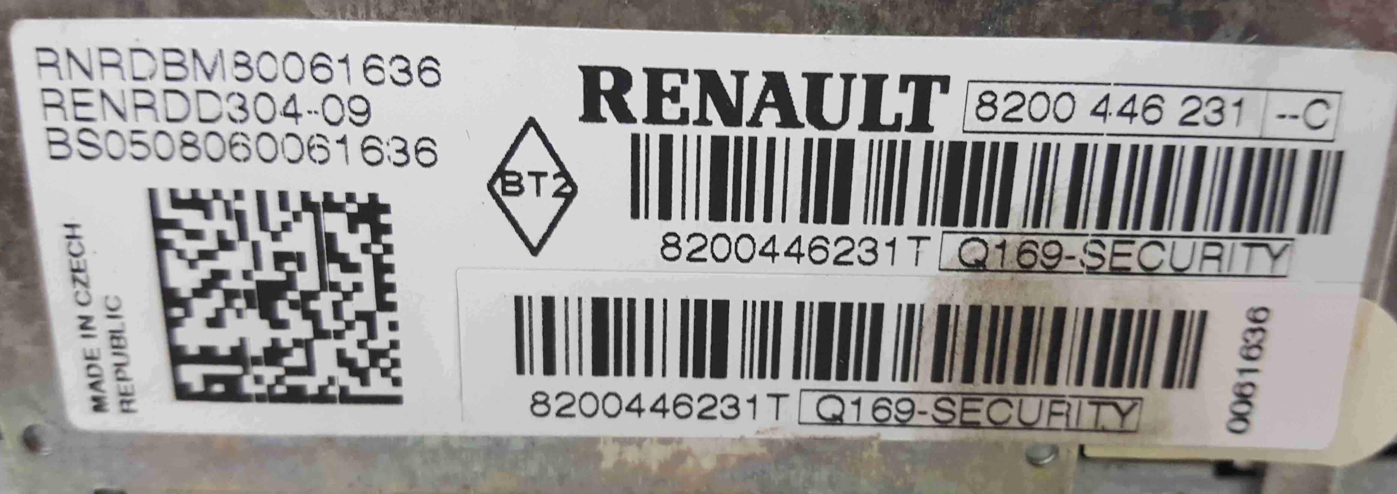 Renault Twingo 2007-2011 Radio Cd Player Update List + Code 8200446231